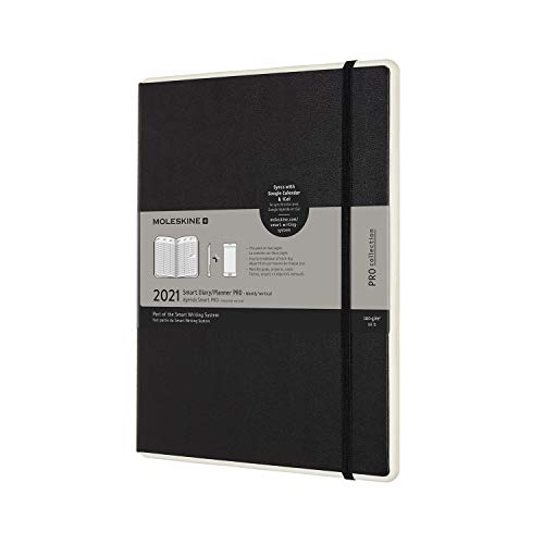 Moleskine - Smart Diary Pro, Digitaler Kalender Planer 2021, 12-monatiger digitaler Wochenplaner, Wochenplanerverwaltung, Hardcover, Format XL 19 x 25 cm, 176 Seiten, Farbe schwarz