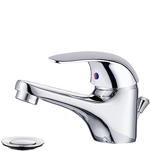 Mediawave Store - Mezclador grifo lavabo de acero cromado, grifo mezclador baño, lavabo, ducha, bañera, cocina, monomando, diseño clásico con desagüe Pop Up Selenia 90043-5