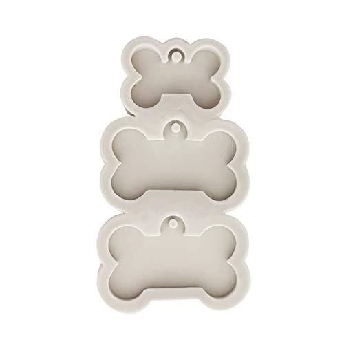 MOMOJIA Molde de resina de epóxi de cristal faça você mesmo em forma de osso chaveiro molde de silicone