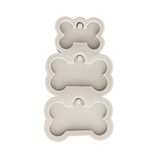 Mengmengda DIY Dog Tag Bone Shaped Keychain Casting Silicone Mould Crafts Key Chain Pendant Making Tools Crystal Epoxy Resin Mold