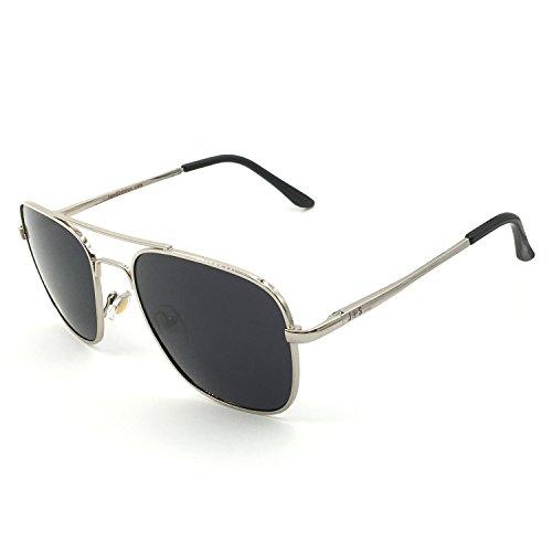 J+S Premium Military Style Classic Aviator Sunglasses, Polarized, 100% UV protection (Medium Square Frame - Silver Frame/Black Square Lens)