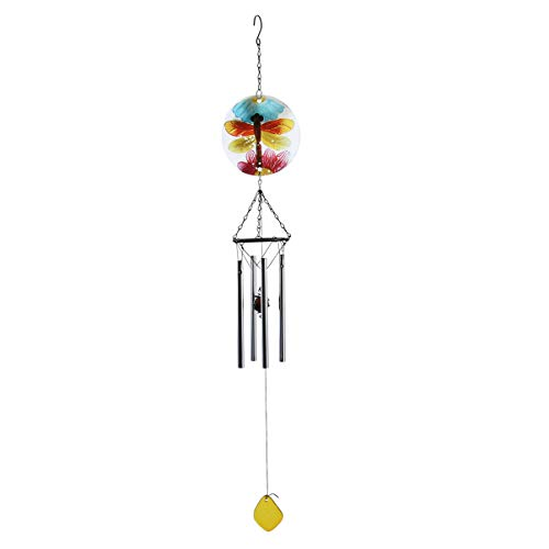 Yarnow Libelle Wind Glockenspiel Glas Garten Windspiele Windglocke mit Eisenrohren für Outdoor Indoor Home Patio Dekoration