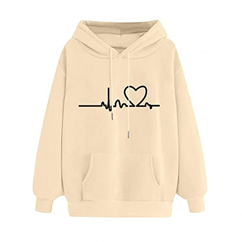 Sweatshirts Women, VISLINDU Ladies Cute Graphic Long Sleeve Hoodie Heart Print Pullover Sweater with Pockets Beige