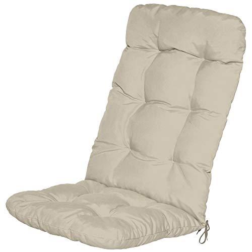 Beautissu Cojín para sillas de balcón Flair HL - Cojín para Asiento Exterior con Respaldo Alto - 120x50x8 cm - Relleno de Copos de gomaespuma - Natural