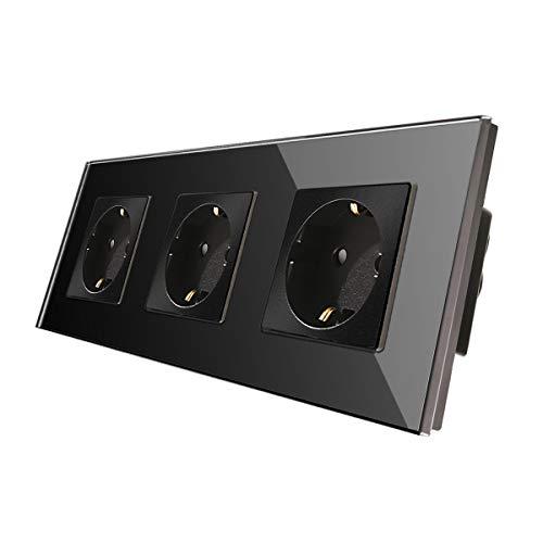 CNBINGO Enchufe Triple 16A con vidrio negro templado,protección infantil,material ignífugo,Enchufe Schuko estándar de la UE