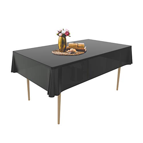 Puricon wegwerp tafelkleed van kunststof, 1,37 x 2,74 m, premium rechthoekig tafelkleed, tuintafelkleed voor gastronomie, feesten, bruiloften of huishouden 6 Stück zwart
