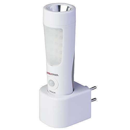 Poly Pool PP3301 GENIALUX Lampada Ricaricabile 14 + 6 LED Portatile Luce Di Emergenza Luce Notturna Con Rilevatore Di Presenza e Base di Ricarica