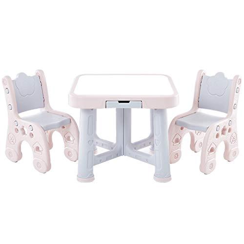 Table d'étude Jouet d'apprentissage Bureau Table et Deux Ensembles de Chaise d'apprentissage Maison Table de Jeu de la Chambre des Enfants Peut Supporter 250 kg de Poids (Color : Pink)