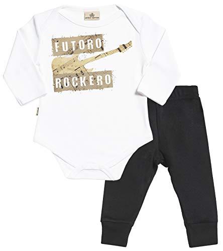 SR - Futuro Rockero Regalo para bebé - Blanco Body para bebés & Negro Pantalones para bebé - Ropa Conjuntos para bebé - 0-6 Meses