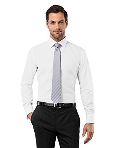 Vincenzo Boretti Herren-Hemd bügelfrei 100% Baumwolle Slim-fit tailliert Umschlagmanschette Uni-Farben - Männer lang-arm Hemden für Anzug Krawatte Business Hochzeit weiß 39-40