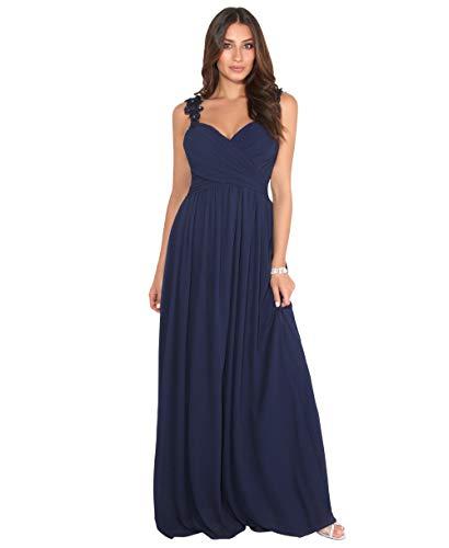 KRISP Damen Bodenlanges Abendkleid aus Chiffon mit Blumenspitze Trägern, Marineblau (2410), 40,...