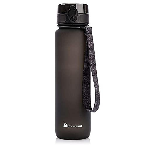 meteor Bottiglia Acqua Senza BPA Borraccia per Bambini Adolescenti e Adulti Ideale per Bici Sportivo Campeggio Scuola Ufficio Palestra Plastica Tritan Diverse Dimensioni e Colori (1000ml, Nero)