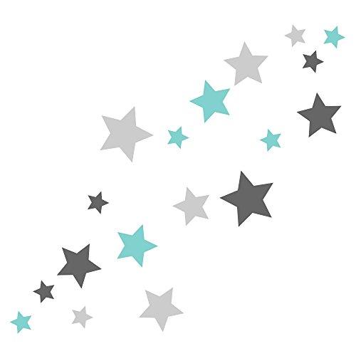 30 Stück selbstklebende Sterne Aufkleber, Mix-Set mint, grau, Fensterbild/Fensteraufkleber, Wandtattoo, In- und Outdoor 62s1