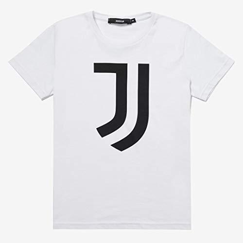 Juventus T-Shirt Bianca con Logo Nero - 100% Originale - 100% Prodotto Ufficicale - Bambino - Scegli la Taglia (Taglia 10 Anni)