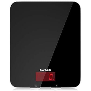 Foto di ACCUWEIGHT Bilancia Cucina Digitale Bilancia Alimenti Elettronica Multifunzione con Display LCD per Pesa Cibo, 5 kg / 11 lbs, Superficie in Vetro Temperato, Nero