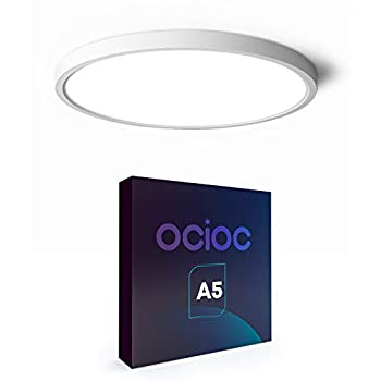 Ocioc Flush Mount LED Ceiling Light Fixture 12inch 24W 5000K 3200lm Round Ceiling Lamp for Kitchen,Laundry Room Super Bright White ETL Listed