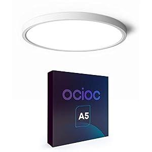 Ocioc LED Flush Mount Ceiling Light, 8.9inch 18W 5000K, Slim Round Surface Mount Lighting Fixture for Bedroom, Utility Room, Hallway, Stairwells, Closets White ETL Lsted