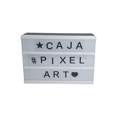 Projects Panorama Caja de luz LED de plástico, incluye pilas, letras, números y símbolos, publicidad flexible, caja de luz decorativa versátil, diseño retro y vintage (negro)