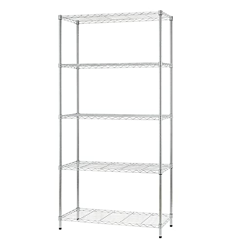 """36"""" L×14"""" W×72"""" H Wire Shelving Unit Metal Shelf with 5 Tier Adjustable Layer Rack Strong Steel for Restaurant Garage Pantry Kitchen Garage,Chrome"""