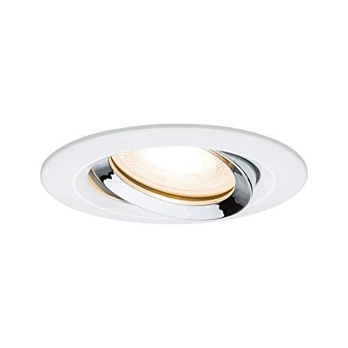 Paulmann 93663 Einbauleuchte LED Nova Einbaustrahler rund Spot Weiß/Chrom schwenkbar ohne Leuchtmittel max. 35W Einbaurahmen GU10 oder GU5,3