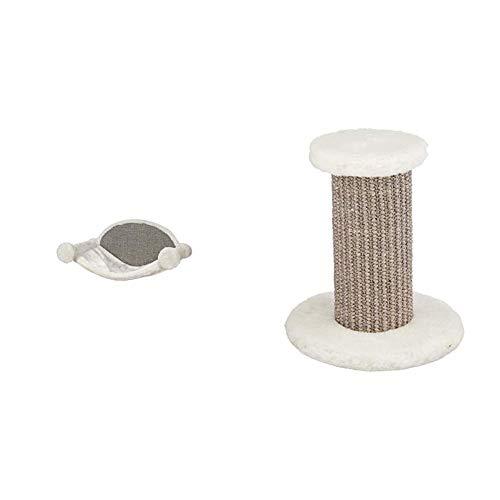TRIXIE 49920 Hängematte zur Wandmontage, 54 × 28 × 33 cm, weiß/grau & 49922 Kletterstufe zur Wandmontage, ø 18 × 22 cm, weiß/grau