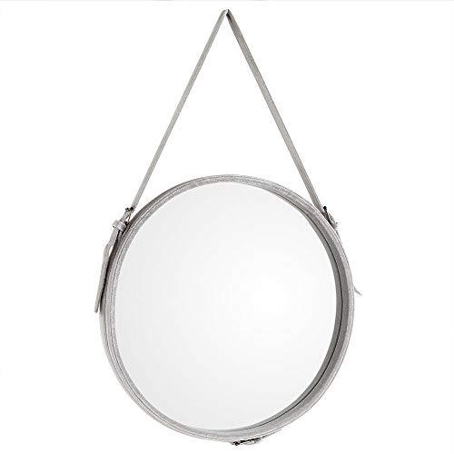 Beautify Espejo Redondo de Terciopelo con Correa - Gris - Decorativo - Circular Círculo - Belleza - Vanidad - Vestidor - Para Dormitorio, Sala De Estar, Pasillo