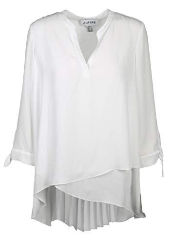 Joseph Ribkoff Damen Bluse mit plissiertem Rücken Größe 42 EU Weiß (weiß)