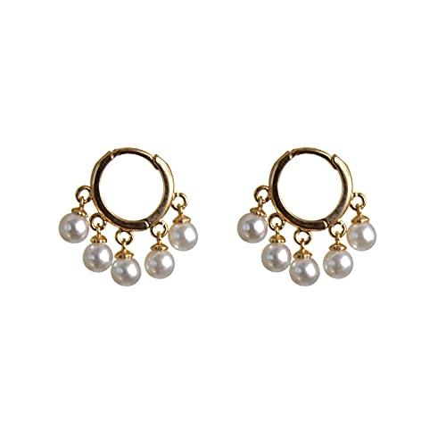 LASE C9, Pendientes para Mujer y Niña. Diferentes Modelos de Aros, Perlas y Estrellas. Joyas Elegantes para Mujer, Complementos de Moda y Tendencia. (14 Gold)