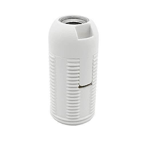 E14 Fassung weiß Thermoplast Gewindemantel u. Rastkappe M10x1 Gewinde Schraubfassung für Glühlampe und LED