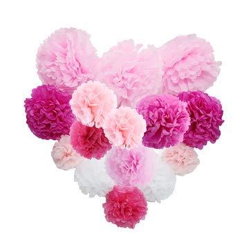 BOBOTOGO 15pcs Pompons di Carta Decorazione Floreale Bianco Rosa Colori della Miscela per celebrare Regalo Festa Baby Shower