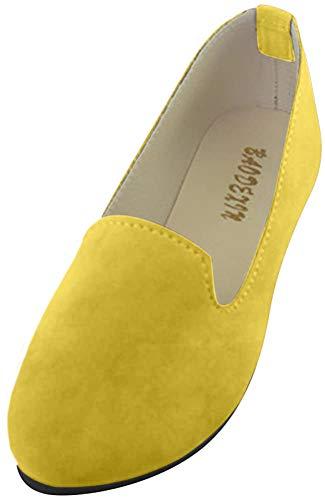 Mujer - Bailarinas Básicas - Piel Sintética - Color del Primo - Chic Elegante y Moda,Albaricoque Amarillo,EU 38