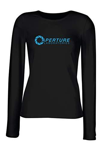 T-Shirt para Las Mujeres Manga Larga Negra FUN0616 Aperture Laboratory