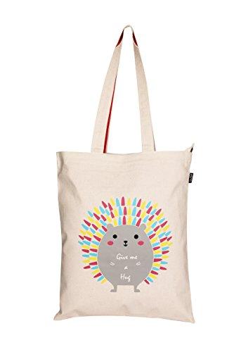 EONO Totalizador de la lona tote bag tela verduras reutilizables respetuoso del medio ambiente del ultramarinos del bolsa de algodon para mujeres - Impreso me abraza Porcupine (Natural) | 0601G03
