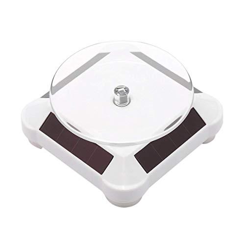CHOUCHOU Colgante Pendientes capaces de Energía Solar de la batería de 360 Grados Plato Giratorio del Soporte de exhibición del Reloj Collares Titular de Anillo Soporte de la joyería