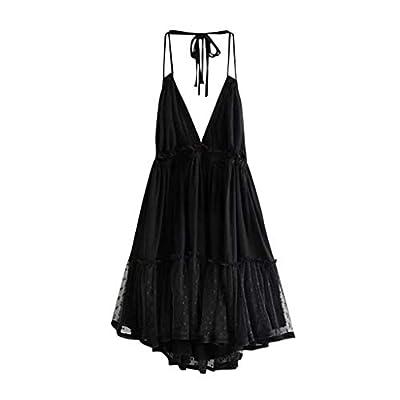 Hot!EDC Women's Bohemia Lace Dresses Halter V Neck Sleeveless Hight Waist Splicing Crochet Cocktail Mini Pleated Dress