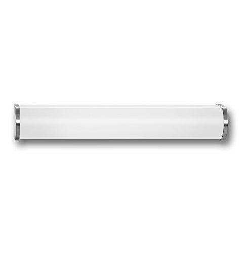 Steinel Sensor-Innenleuchte BRS 82 L, WC und Badezimmerleuchte mit 360 Grad Hochfrequenz-Bewegungssensor, 4 m Reichweite, Badleuchte aus Opalglas, TC-L 24 W, chrom matt 741419