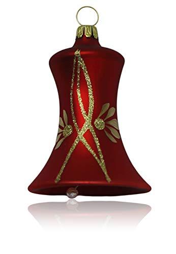 Glocken klein rot matt mit Ranken 3 Stück d 5cm Christbaumschmuck Weihnachtsbaumschmuck mundgeblasen, handdekoriert Lauschaer Glas das Original