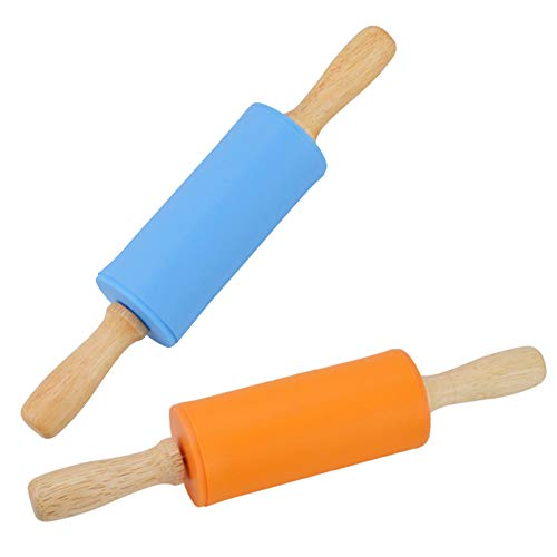 Mini Rolling Pin, 2 Pack Wooden Handle Rolling Pin Non-Stick Silicone Rolling Pins for Home Kitchen Children Cake 9 Inch by Koogel