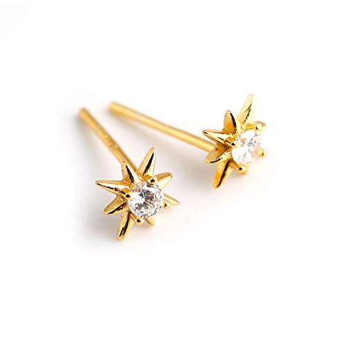 Vvff Silver Round Zircon Light Stars Mini Stud Earrings For Women Chic Birthday Jewelry Gift