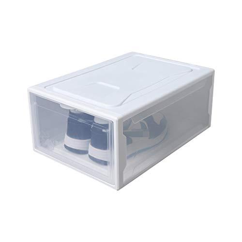 Caja de zapatos para zapatos, caja de almacenamiento de zapatos, caja de almacenamiento para zapatos, caja de almacenamiento transparente (2 piezas) zapatero (color: blanco, tamaño: 26 x 37 x 20 cm)