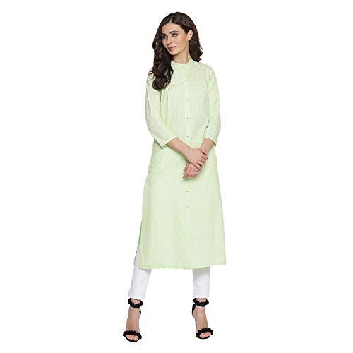 Indian Virasat Pastel Green Colored Long Straight Long Kur