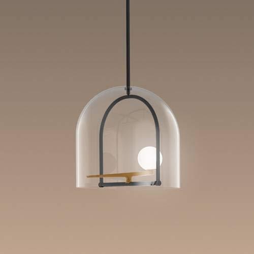 YANZI- Lampadario a LED in vetro/metallo, Ø 35 cm, ottone dorato Artemide, designato da Neri & Hu