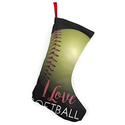 antkondnm I Love Softball Christmas Stockings, 10 Inch Stocking Hanging Christmas Ornaments
