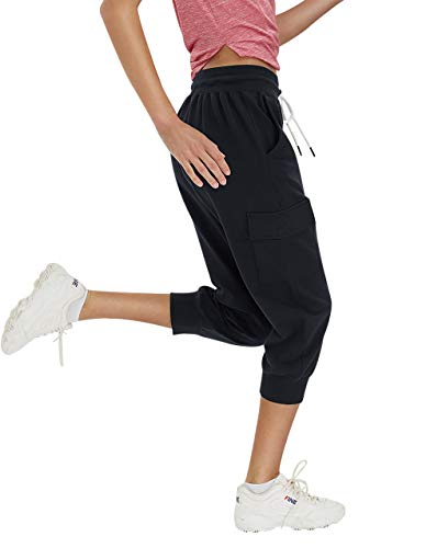 SPECIALMAGIC Women's Capri Jogger Cargo Pants Sweatpants for Women with Pockets Workout Athletic Sports Gym Casual Wear Black L
