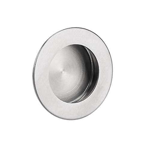 10 Pack Stainless Steel Recessed Door Pulls Stain Nickel Flush Pocket Door Handles 2.5'' Outer Diameter Barn Door Sliding Door Pull Handles