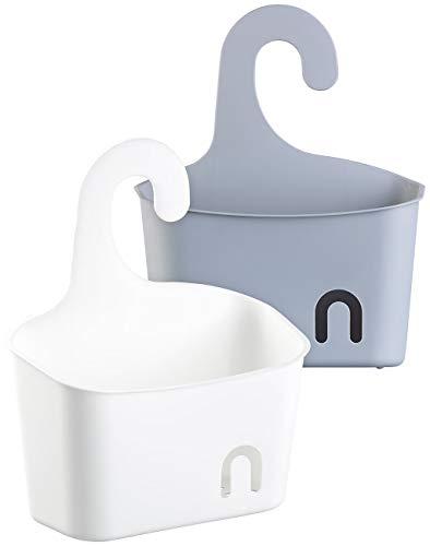 BadeStern Duschregal: 2er-Set Duschkörbe mit Aufhänge-Haken und Ablaufgitter, grau und weiß (Duschkorb Hängen)
