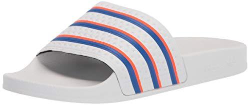 adidas Originals Men's Adilette Shower Slides Sneaker, White/Blue/Solar Red, 11