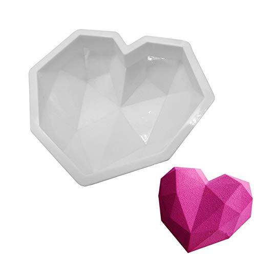 Moule Silicone gâteau Forme Coeur Diamant Facette, pâtisserie 3D Anti adhérent, Moule à manqué Original Silicone de qualité Pro Design - St Valentin Love Amour - 22 * 18 * 5 cm