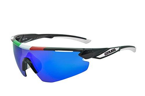 Salice 012ITA - Occhiale da Bicicletta, Unisex, Adulto, Telaio: Nero/ Lenti: Blu, Taglia Unica
