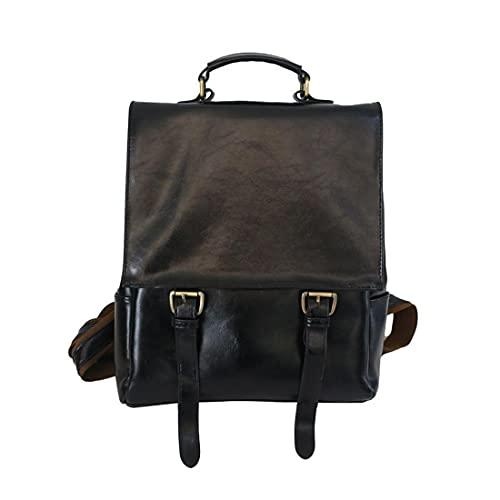 Mochila de estilo japonés para mujer, mochila de colegio, mochila de viaje de piel sintética, Negro, Talla única